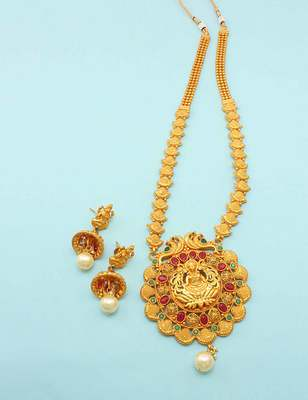 Red green temple pendant set jewellery for women