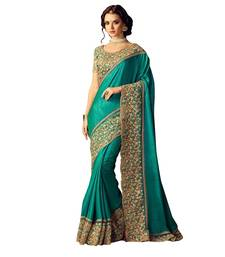 Buy Green embroidered bhagalpuri cotton saree with blouse heavy-work-saree online