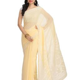 Buy Lemon embroidered georgette saree with blouse chikankari-saris online