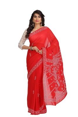 Ada red embroidered faux georgette chikankari saree
