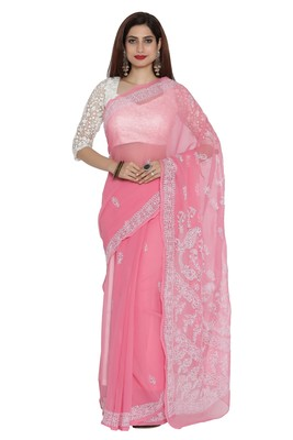 Ada Pink Embroidered Faux Georgette Chikankari Saree