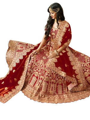 Maroon embroidered art silk unstitched lehenga with dupatta