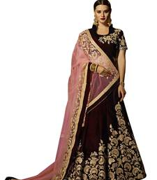 Buy Maroon embroidered velvet unstitched bridal lehenga with dupatta bridal-lehenga online
