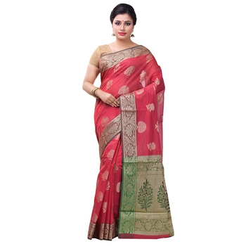 Strawberry woven art silk saree with blouse