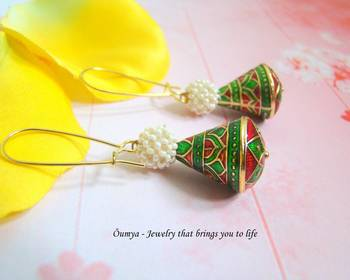 Green meenakari earrings