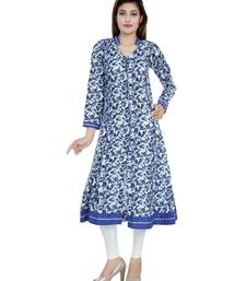 Indigo printed stitched cotton-kurtis