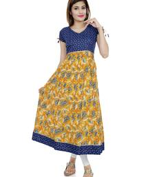Yellow printed stitched cotton-kurtis