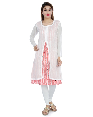 White printed stitched cotton-kurtis