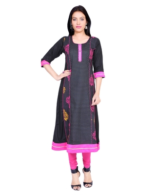 Black printed stitched cotton-kurtis