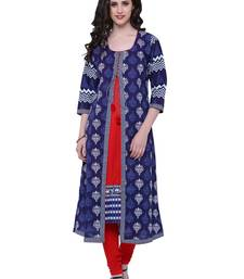 Buy Indigo printed stitched cotton-kurtis cotton-kurtis online