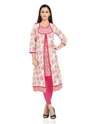 Pink printed stitched cotton-kurtis