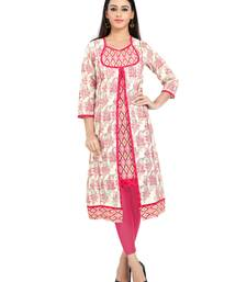 Pink printed stitched cotton-kurtis