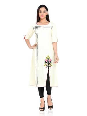Off white embroidered stitched khadi kurtis