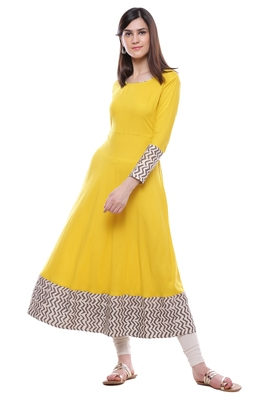Yellow plain viscose stitched rayon ethnic-kurtis