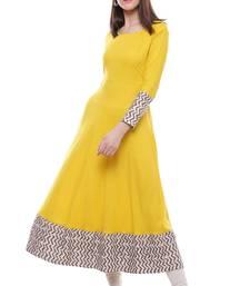 Buy Yellow plain viscose stitched rayon ethnic-kurtis plus-size-kurtis online