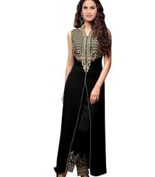 Buy Black embroidered georgette salwar with dupatta dress-material online