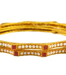 Gold Plated Kada with Red Stones For Women