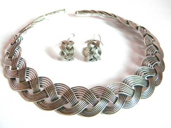 plaited silver necklace