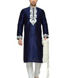 Indian poshakh navy blue dupion kurta pajama