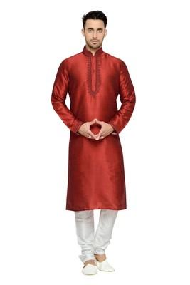 Indian Poshakh Maroon Dupion Kurta Pajama