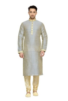 Indian Poshakh Fawn Dupion Kurta Pajama