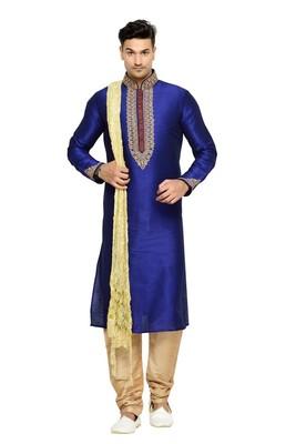Indian Poshakh Royal Blue Dupion Kurta Pajama