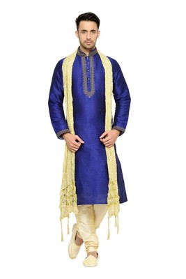 Indian poshakh royal blue banglore silk kurta pajama