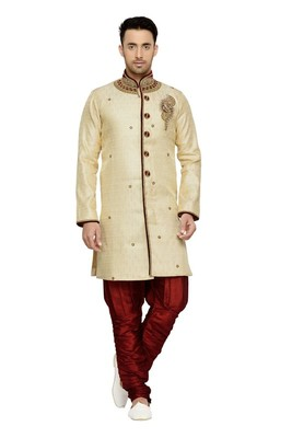 Indian poshakh gold semi indo brocket kurta pajama