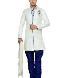 Indian poshakh off white semi indo brocket sherwani wedding-sherwani