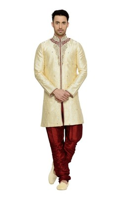 Indian poshakh gold semi indo brocket kurta pajama
