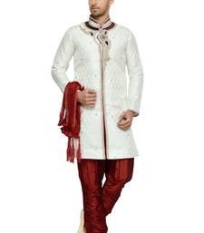 Buy Indian poshakh off white semi indo brocket kurta pajama wedding-sherwani online