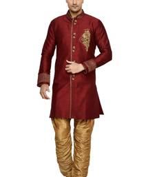 Indian Poshakh Maroon Semi Indo Brocket Kurta Pajama