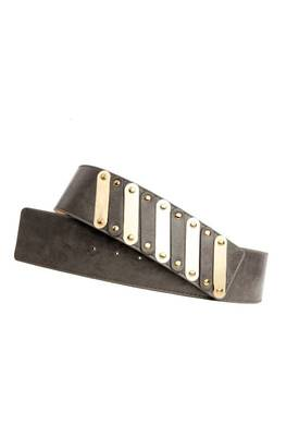 Just Women - Dressy Dark Grey Womens Leather Belt