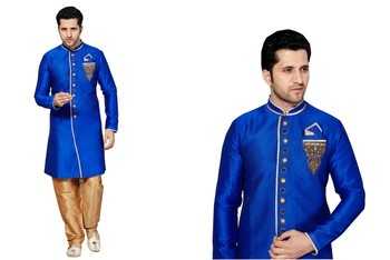 Indian Poshakh Royal Blue Semi Indo Ghiccha Silk Kurta Pajama