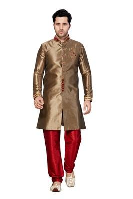 Indian Poshakh Copper Semi Indo Ghichha Silk Kurta Pajama