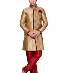 Indian Poshakh Chikoo Semi Indo Gichha Silk Kurta Pajama