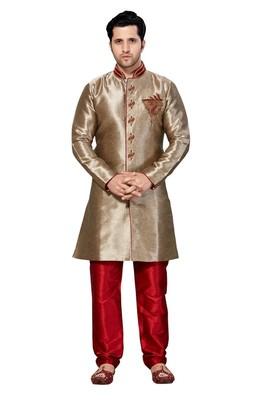 Indian Poshakh Copper Semi Indo Gichha Silk Kurta Pajama