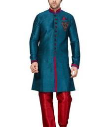 Buy Indian poshakh rama green semi indo gichha silk kurta pajama wedding-sherwani online