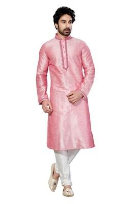 Indian Poshakh Pink Art Dupion Kurta Pajama