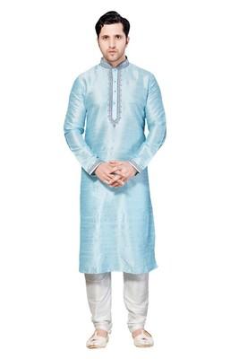 Indian Poshakh Light Blue Art Dupion Kurta Pajama