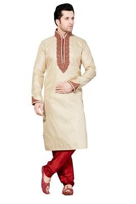 Indian Poshakh Gold Gichha Silk Kurta Pajama