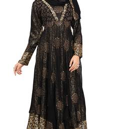 Black & Golden Colour Diamond Stone Work Satin & Georgette With Printed Inner Design Anarklai Style Burka
