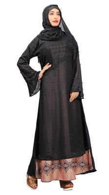 Black Colour Beads Stone Work Georgette & Nida With Printed Inner Design Straight Burka