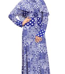 Buy Blue Colour Printed Stretchable Lycra Anarklai Style Burka With Waist Belt burka online