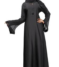 Buy Black Colour High Quality Nida With Stretchable Net Sleeves A-Line Style Burka burka online