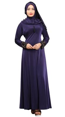 Blue Colour Stretchable Lycra Braso Work Anarkali Style Burka