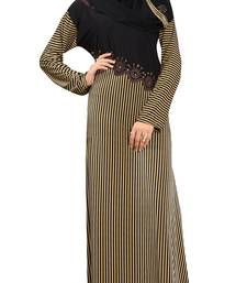 Buy Golden & Black Colour Diamond Stone Work Stripped Printed Stretchable Lycra Burka burka online