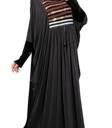 Buy Black Colour Embroidery & Stone Work Stretchable Lycra Free Size Abaya burka online
