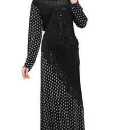 Buy Black Colour Printed Stretchable lycra Stone Work Burka burka online