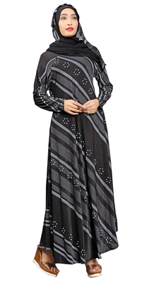 Black & White Colour Silver Pearl Work Stretchable Lycra Anarkali Style Burka